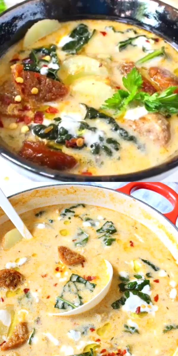 Vegan Zuppa Toscana Easy vegan Zuppa Toscana recipe lusciously creamy naturally dairy free and gluten free loaded with good for you Lacinato kale and comforting potatoes...