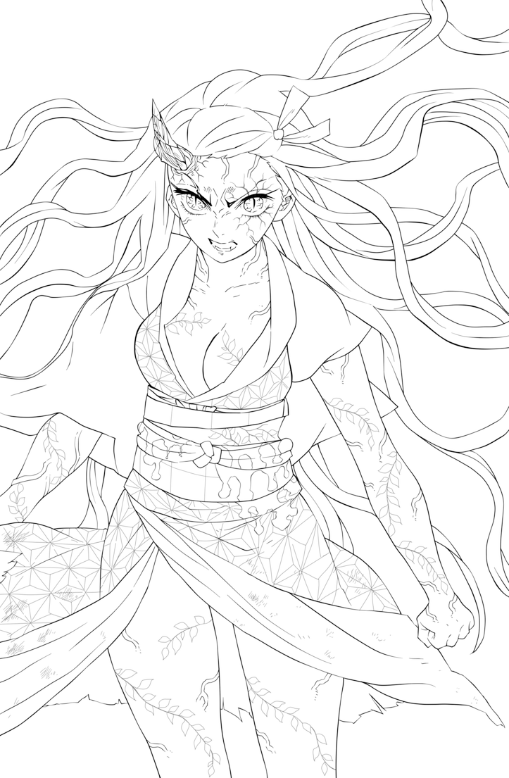 Kimetsu No Yaiba Nezuko Lineart Base Color Psd By Lusara In 2020 Anime Drawings Sketches Witch Coloring Pages Anime Sketch