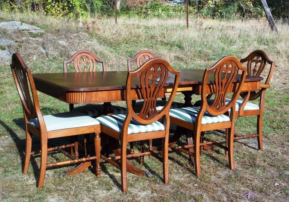 Vtg Hepplewhite Phyfe Mahogany Dining Set Table 6 Shield Back Chairs Thomasville Hepplewhite Th Mid Century Modern Dining Set Dining Table Setting Dining Set