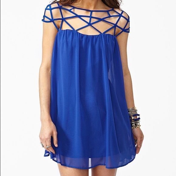 Blue Nasty Gal cage dress size Small Beautiful blue caged chiffon dress from Nasty Gal. Size small. Zipper in back and snap closure at top of cage detail in back. Perfect condition Nasty Gal Dresses