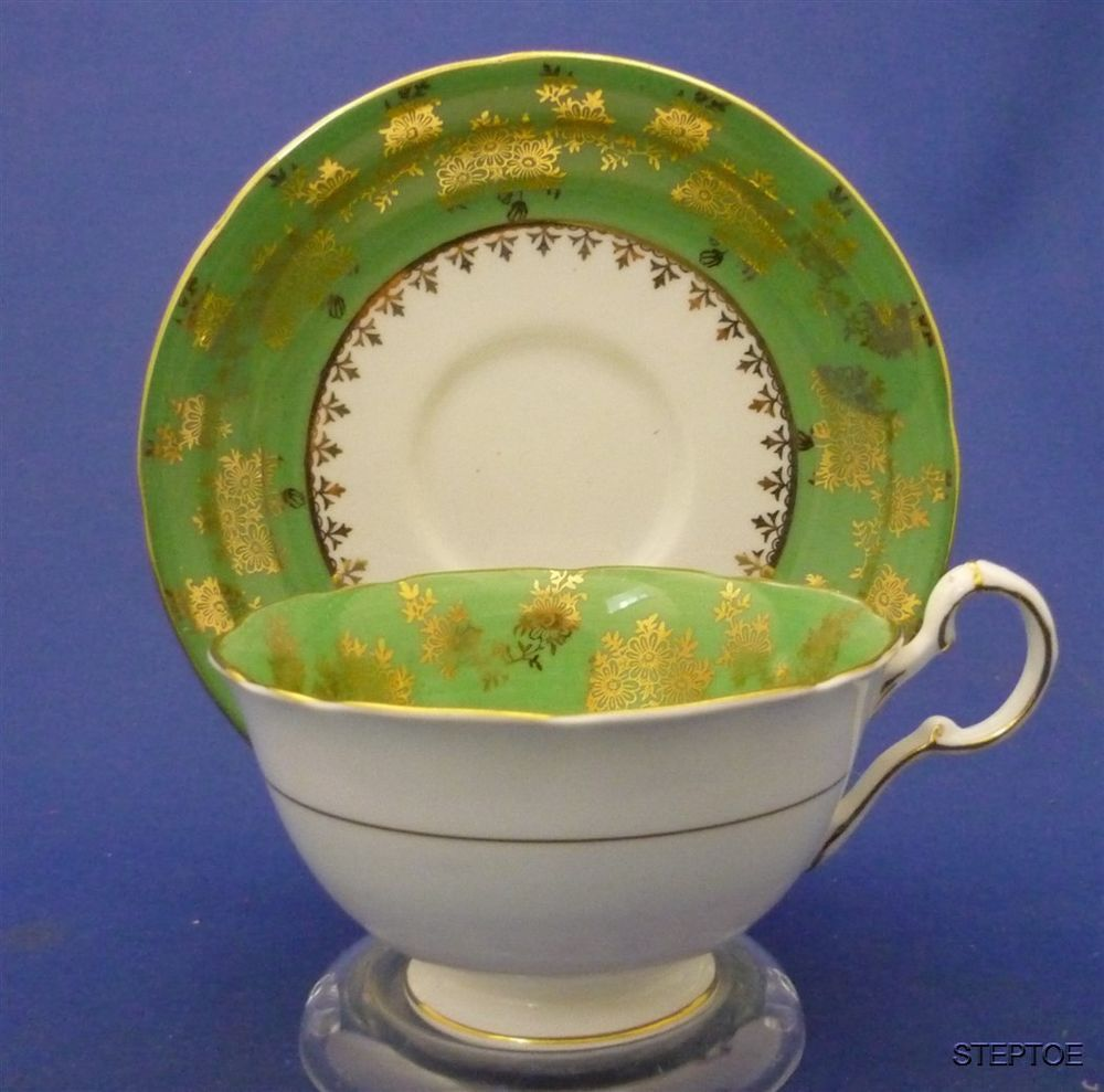 Wide Fancy Royal Grafton English Bone China Green Gold Tea Cup & Saucer Duo Set