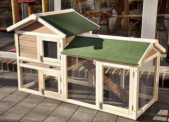 nanook kaninchenstall hasenstall lissy mit auslauf 136x53x84 cm grau wei 30817 hasen stall. Black Bedroom Furniture Sets. Home Design Ideas