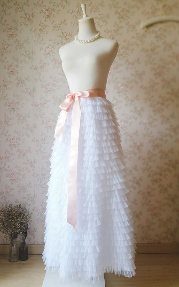 Photo of full skirt outfit #fullskirtoutfit WHITE Tiered Maxi Tulle Skirts, Full Length W…