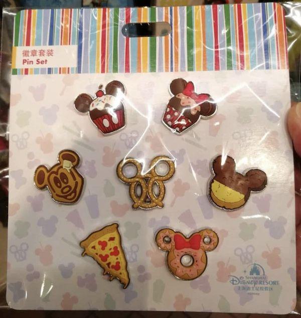 Shanghai Disneyland Food Themed Booster Pin Sets #disneylandfood
