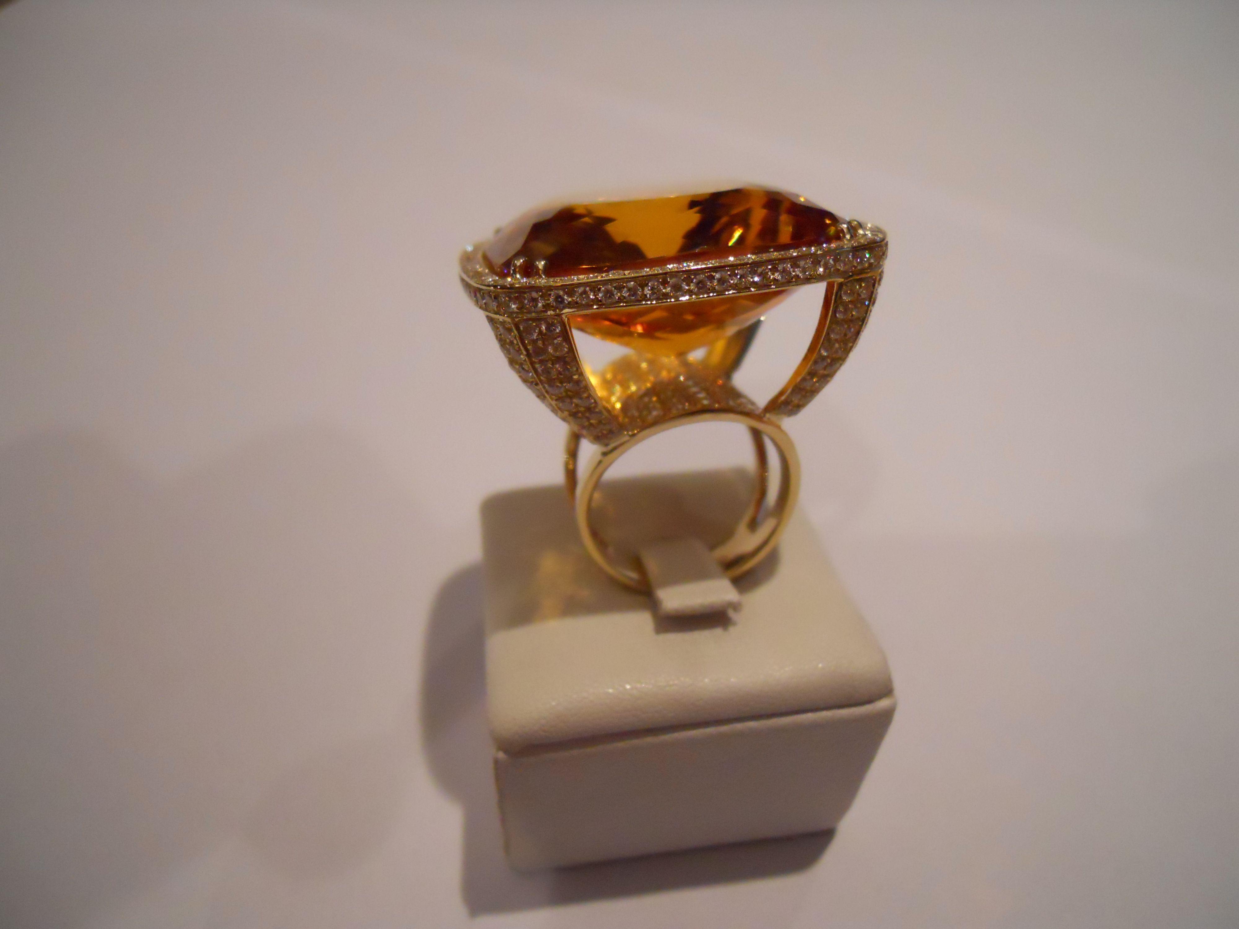 """""""Sunny ring"""" Unique.Gold, diamonds,orange citrine."""
