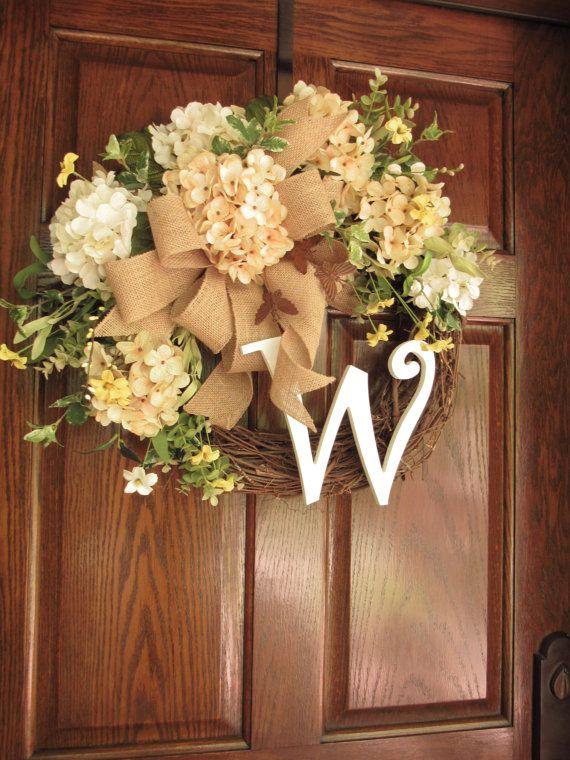 Summer wreaths, Summer door wreath, Initial wreath, Summer door decor, Wreaths for Summer, Elegant wreath, Woodland wreath, Butterfly