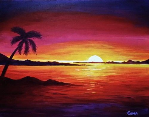 Island Dream Wine Canvas Sunset Canvas Painting Sunset