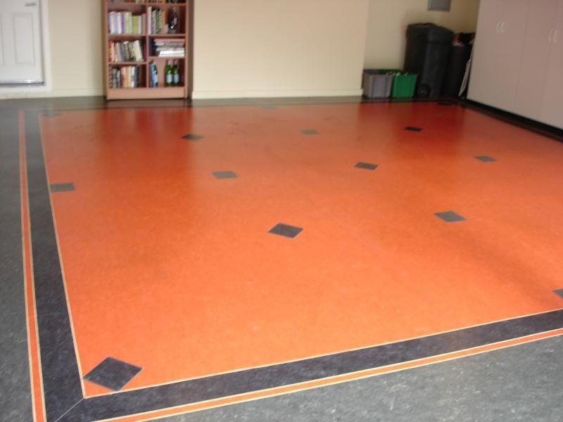 Garage marmoleum with feature strips and inlaid diamond for Linoleum flooring designs