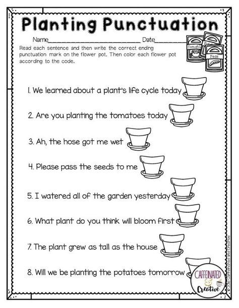Spring Into Spring Punctuation Worksheets First Grade Writing 1st Grade Writing Punctuation worksheets for preschoolers