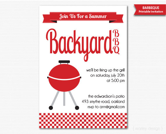 Summer Barbeque Invitation BBQ Invitation Summer Party Neighborhood