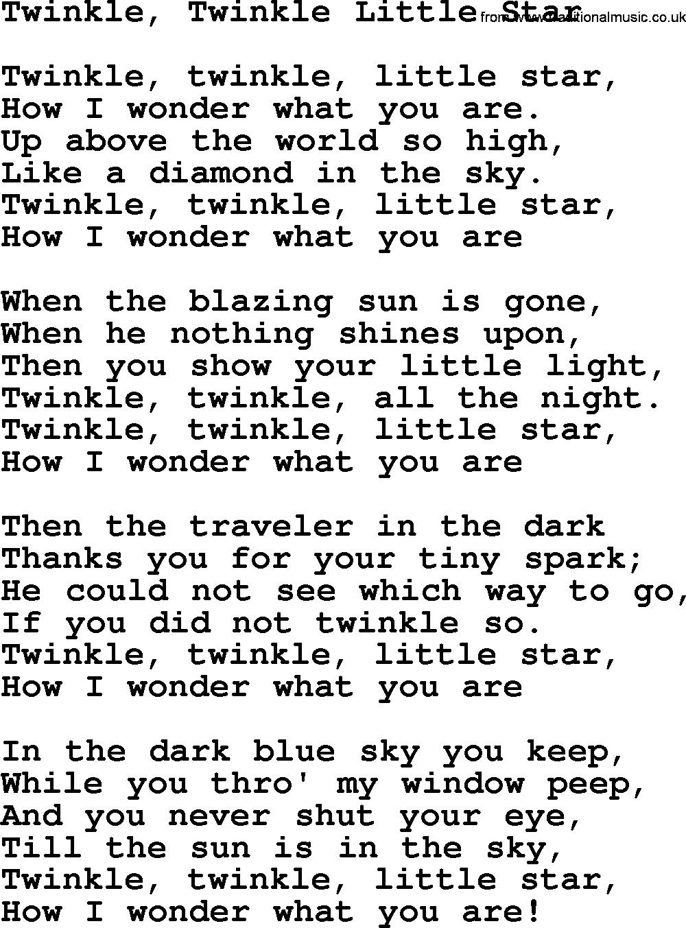 Twinkle Twinkle Little Star Lyrics Bing Images Twinkle