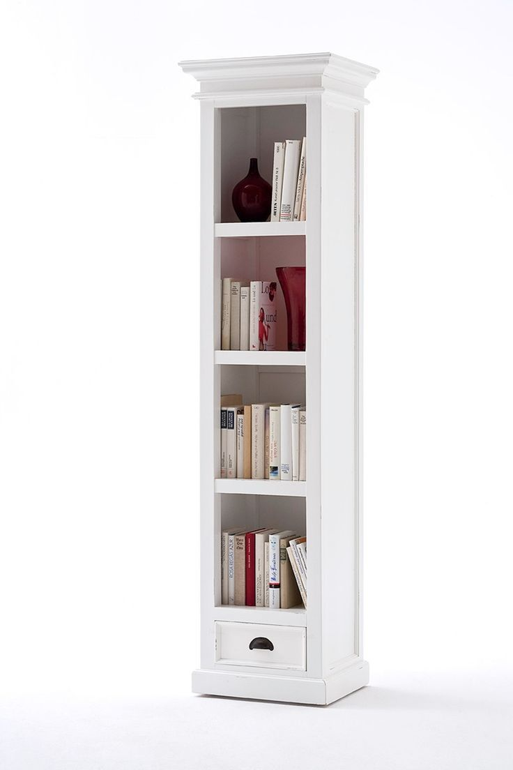 made narrow furniture natural wood thin bookcase solid bookcases vt tall amp