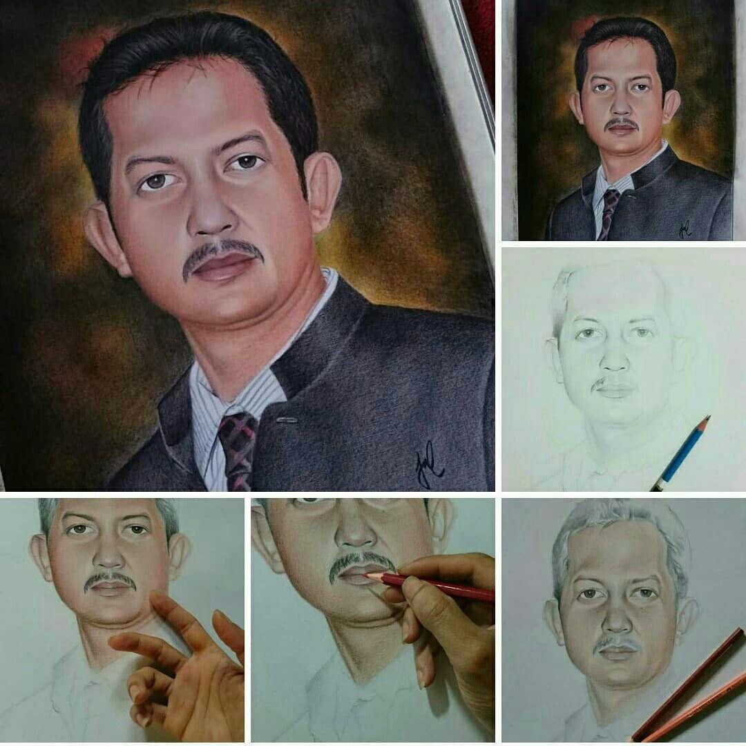 Realist Drawing Menggambar Wajah Pensil Warna Gambar