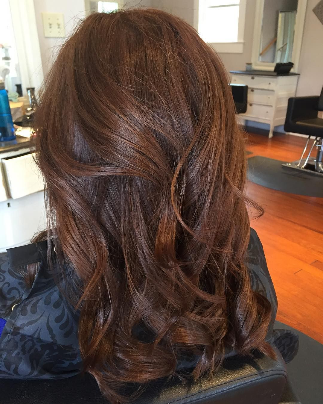 crushed garnet with copper highlights hair color