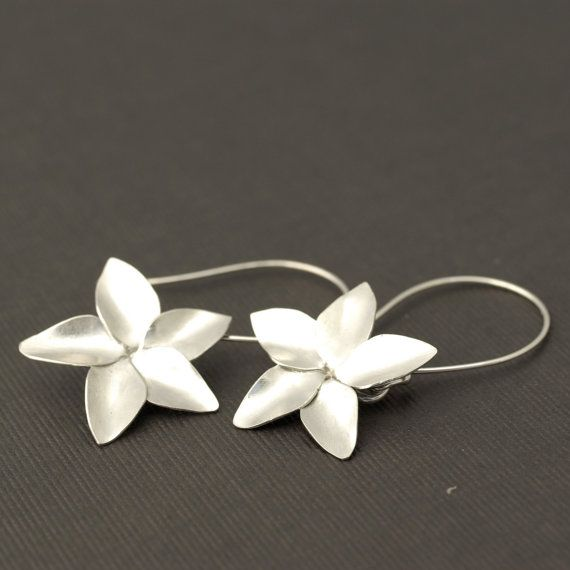 large plumeria earrings sterling silver flower by evelynjewelry, $85.00