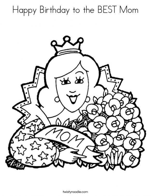 Happy Birthday To The Best Mom Coloring Page Free Printable