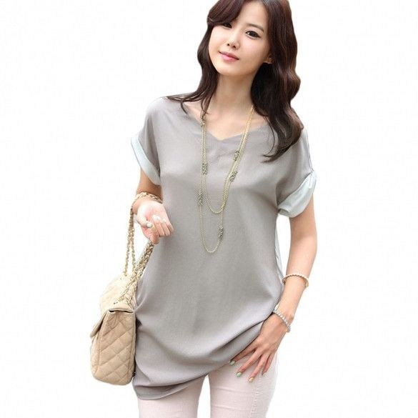 European American Style Fashion Summer Women Temperament Casual Shirt Slim  V-Neck Chiffon Blouse 759fa154b459