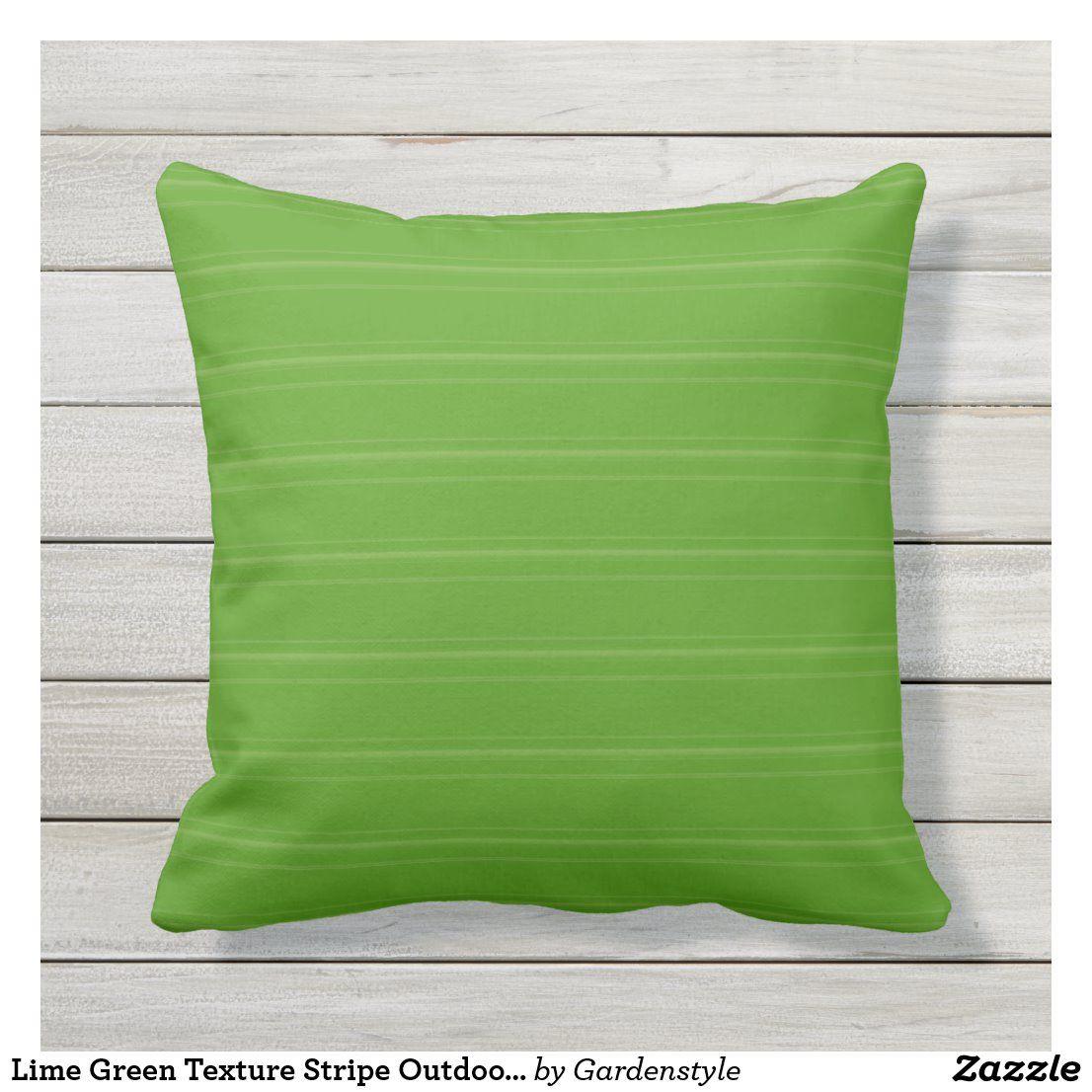 Lime Green Texture Stripe Outdoor Pillow 16x16 Zazzle Com Outdoor Pillows Striped Outdoor Pillow Green Texture