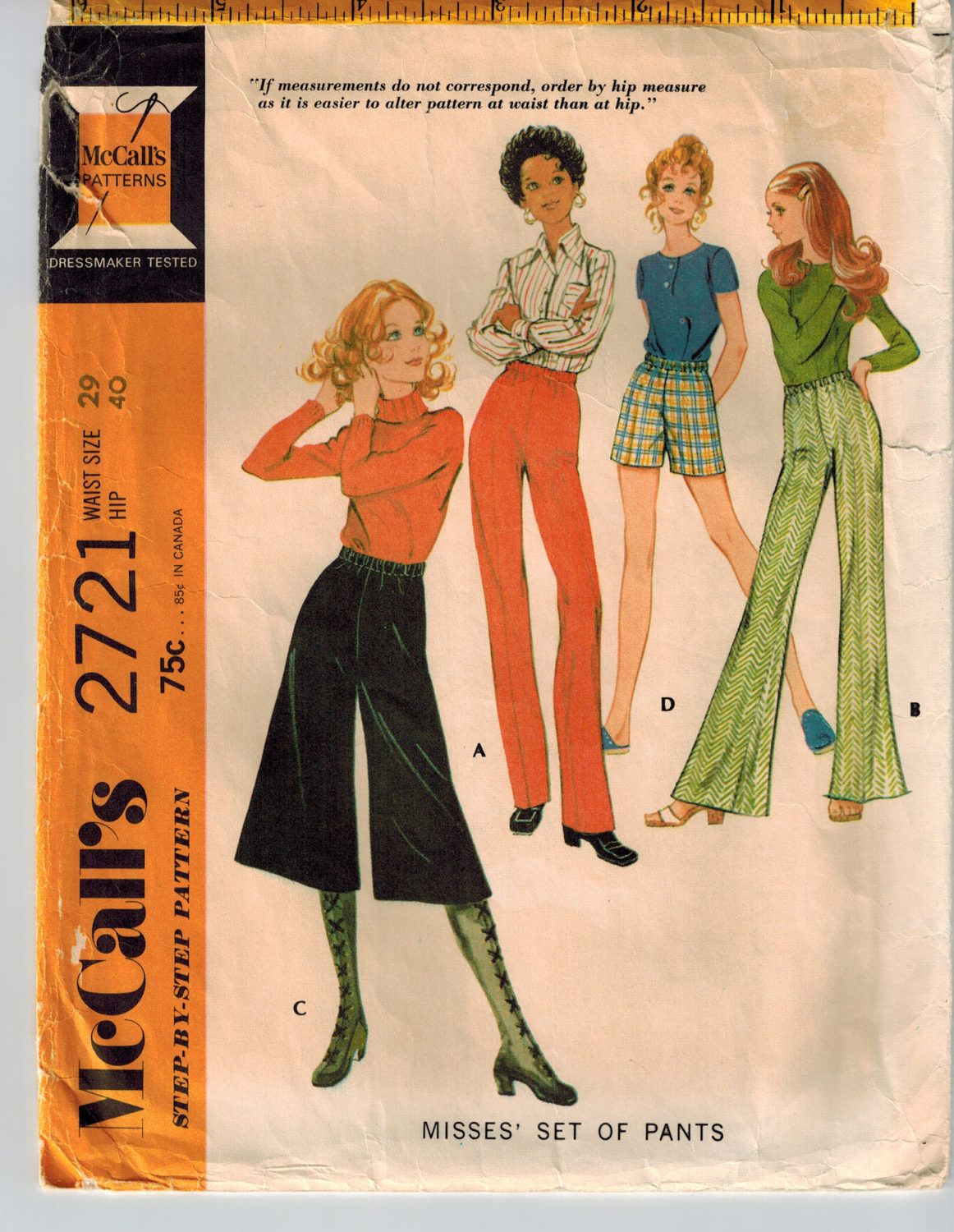 Vintage 70s Misses Pants or Shorts Sewing Pattern Waist 29 Hip 40 ...