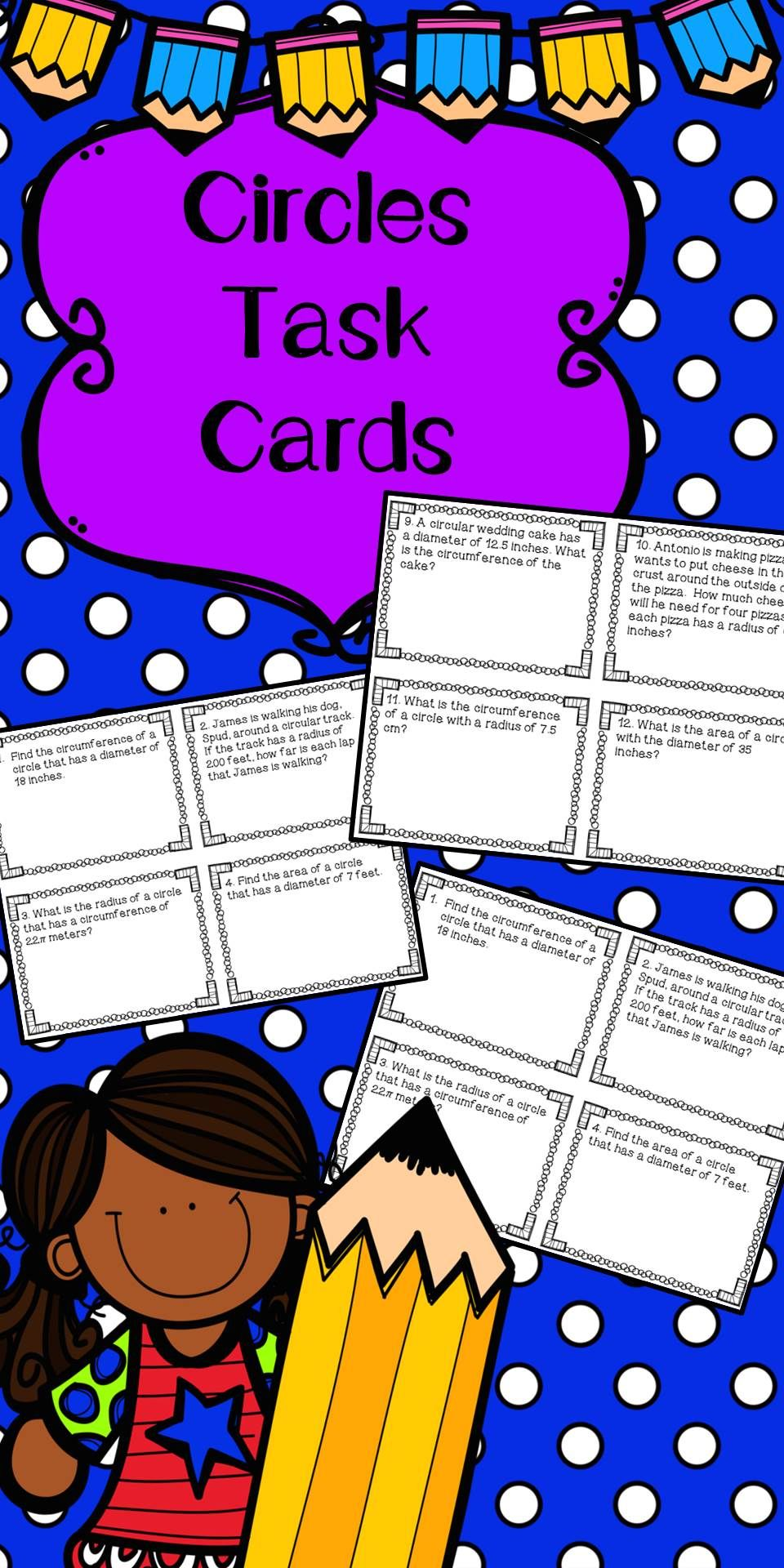 Circles Task Cards For Area And Circumference Task Cards Math