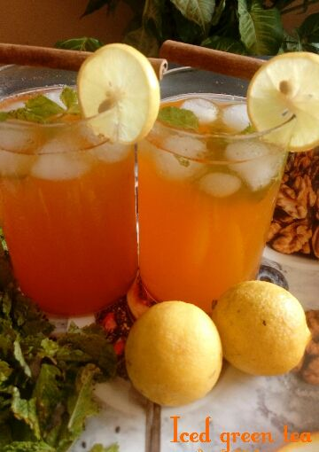 Photo of Iced Green Tea With Orange And Mint