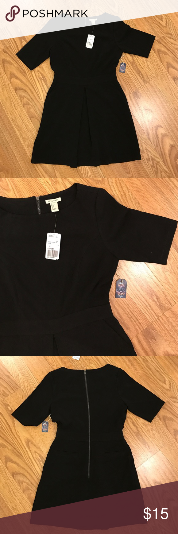 ✨ SALE 🖤 NWT F21 Black Short Sleeve Dress Size S NWT • Forever 21 • Black • Short Sleeve • Dress • Size S • 2 pockets • zipper back • fully lined • Adorable with belt, unfortunately too big for me 😭 • bundle and save • reasonable offers welcome • accessories not included Forever 21 Dresses