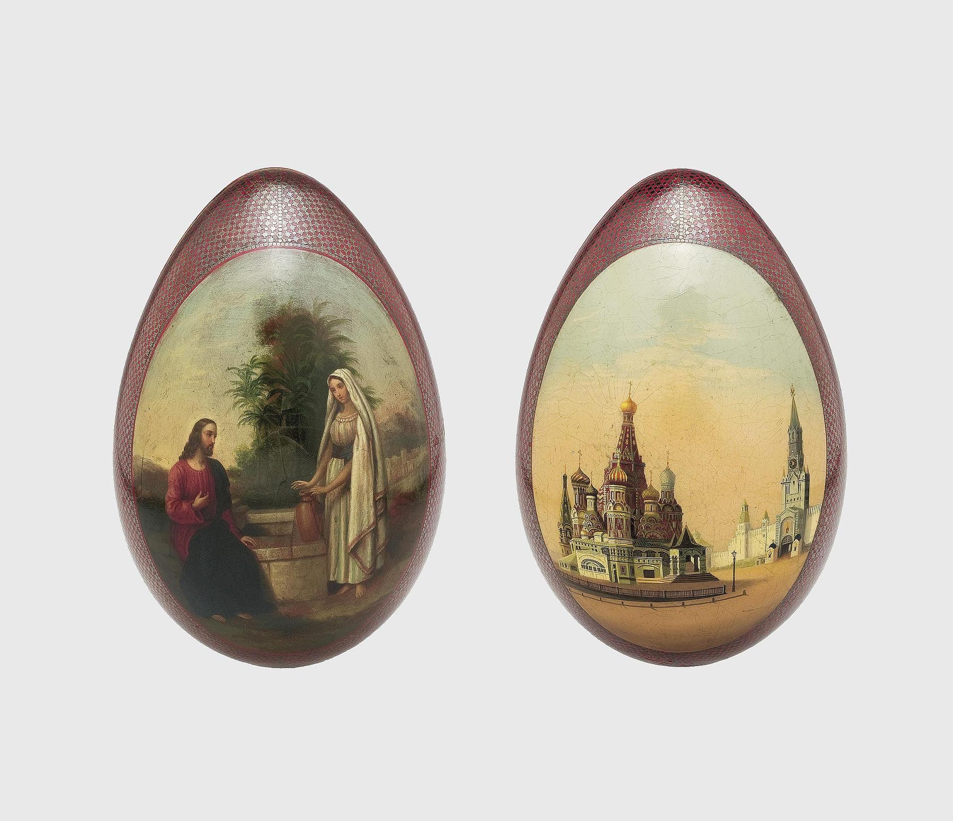 Яйцо пасхальное 'Христос и Самаритянка'. Оборот: собор ...