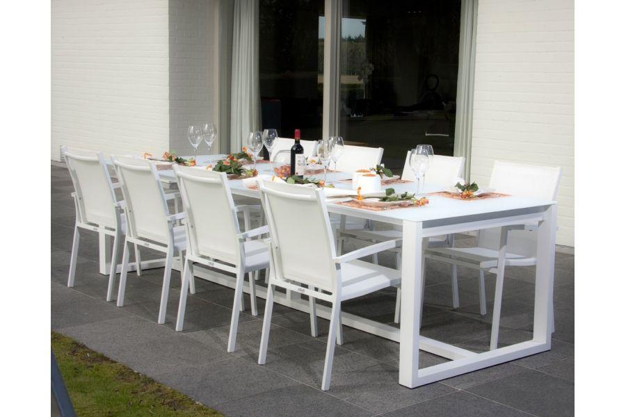 Table de jardin 300 cm en aluminium, plateau verre, Montella - La ...