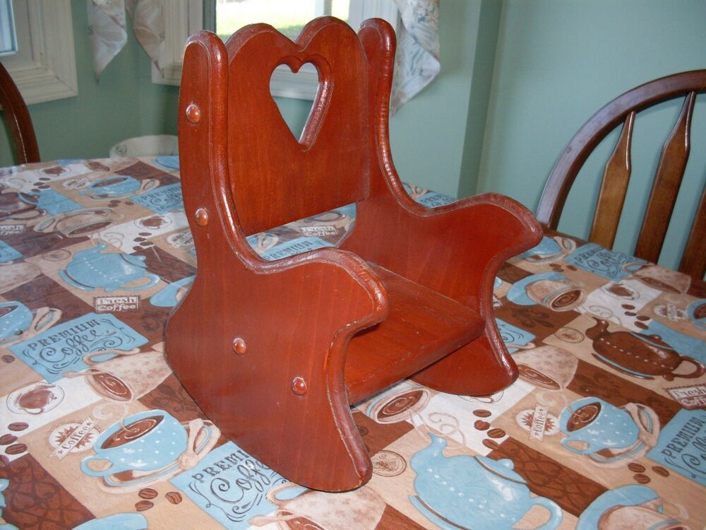 Vintage Doll Boyds Bear Collectible Wooden Rocking Chair 12 Tall Heart Design Unbranded Wooden Rocking Chairs Rocking Chair Vintage Rocking Chair