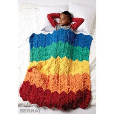 Bernat Rainbow Ripple Blanket Free Knitting Pattern Skill Level
