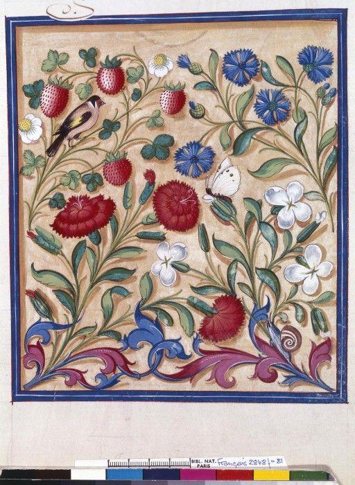 Jean de Tillet. Frontispice *** Recueil des Rois de France, XVIè siècle.   Illustration herbes ...