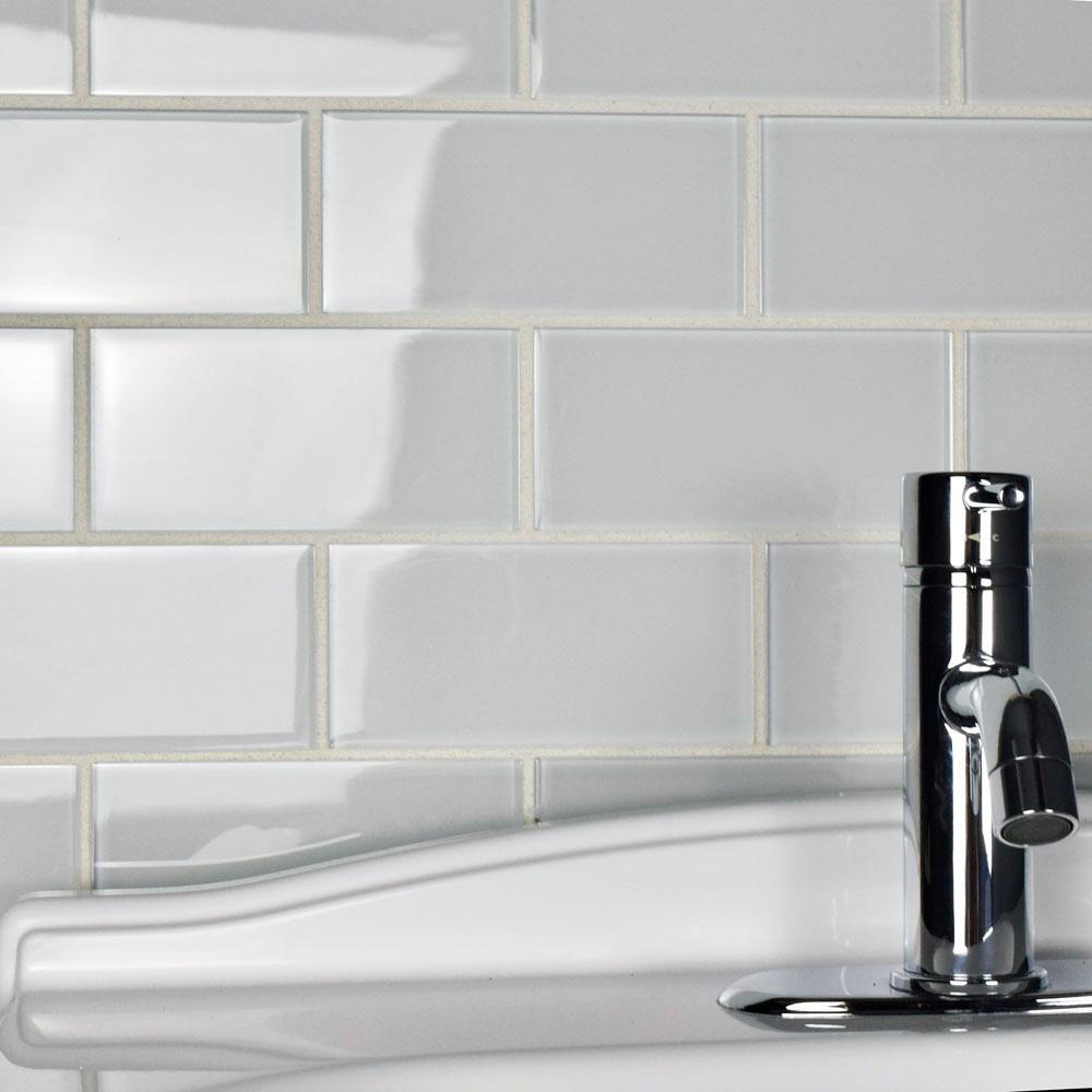 Merola Tile Tessera Subway Ice White 3 in. x 6 in. Glass Wall Tile ...