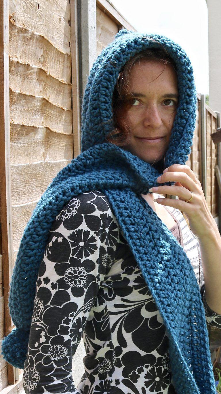 scoodie scarf hoodie crochet pattern | Beginner knit scarf ...