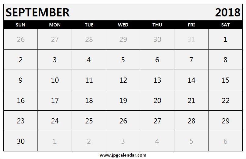 Monthly September 2018 Calendar Landscape Printable