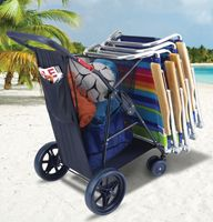 "The Rio Deluxe Wonder Wheeler with 10"" front wheels and tote carries it all for you. If you're going to the beach, stack on your beach chairs and toss beach towels, sunscreen, and a beach ball into the oversized storage compartment."