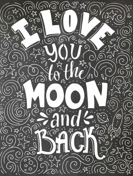 Poster Op Krijtbord Love You To The Moon Voor Love Coloring