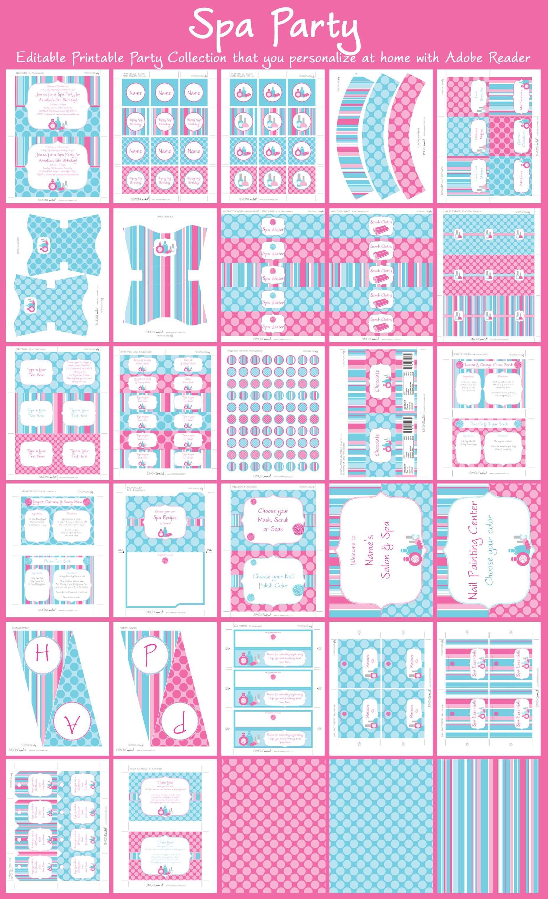 Spa Party Printables, Invitations & Decorations | Spa party, Spa ...