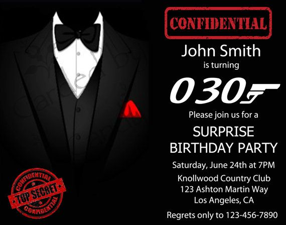 SurpriseTuxJames Bond Birthday Party Invitation Invitaciones de