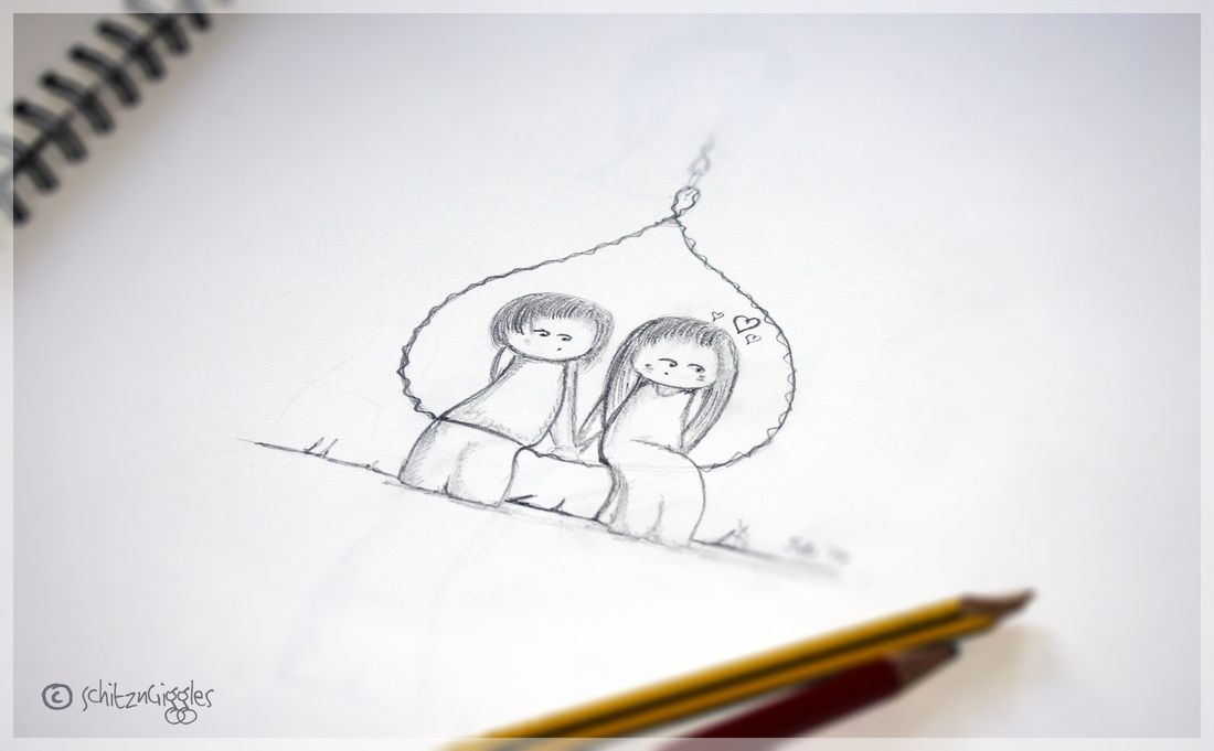 True love pencil sketch and drawing