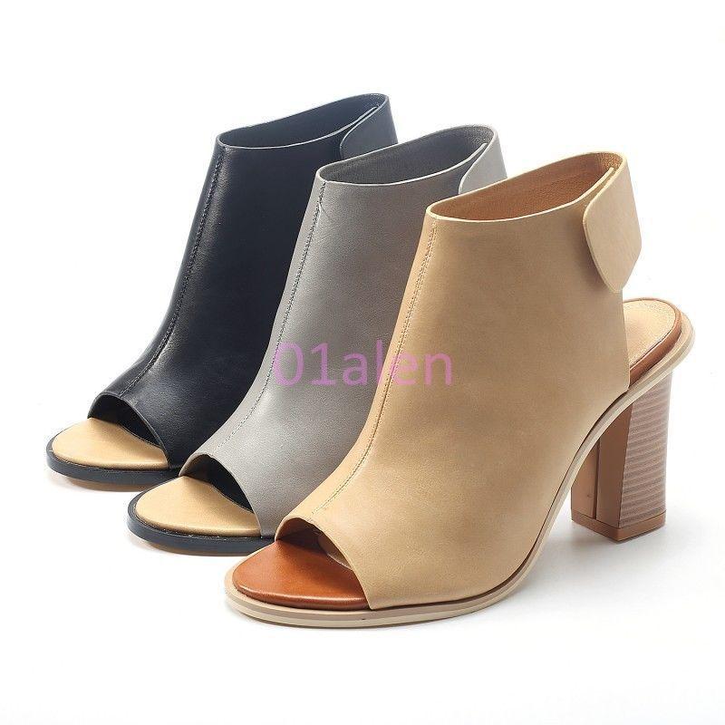 Hot Womens Formal Open Toe High Cuban Heel Vintage High Top Boots Buckle  Sandals