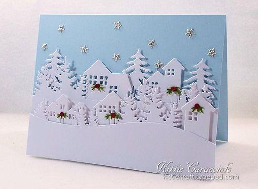 HOUSE WINTER  # 1 die cuts scrapbook cards