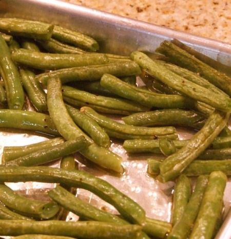 Oven Roasted Green Beans-YUM *I make these a couple times a month and they are well received. (Better than steamed)
