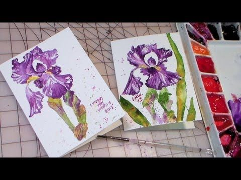 Free Watercolor Painting Tutorial Bearded Iris Iris Painting