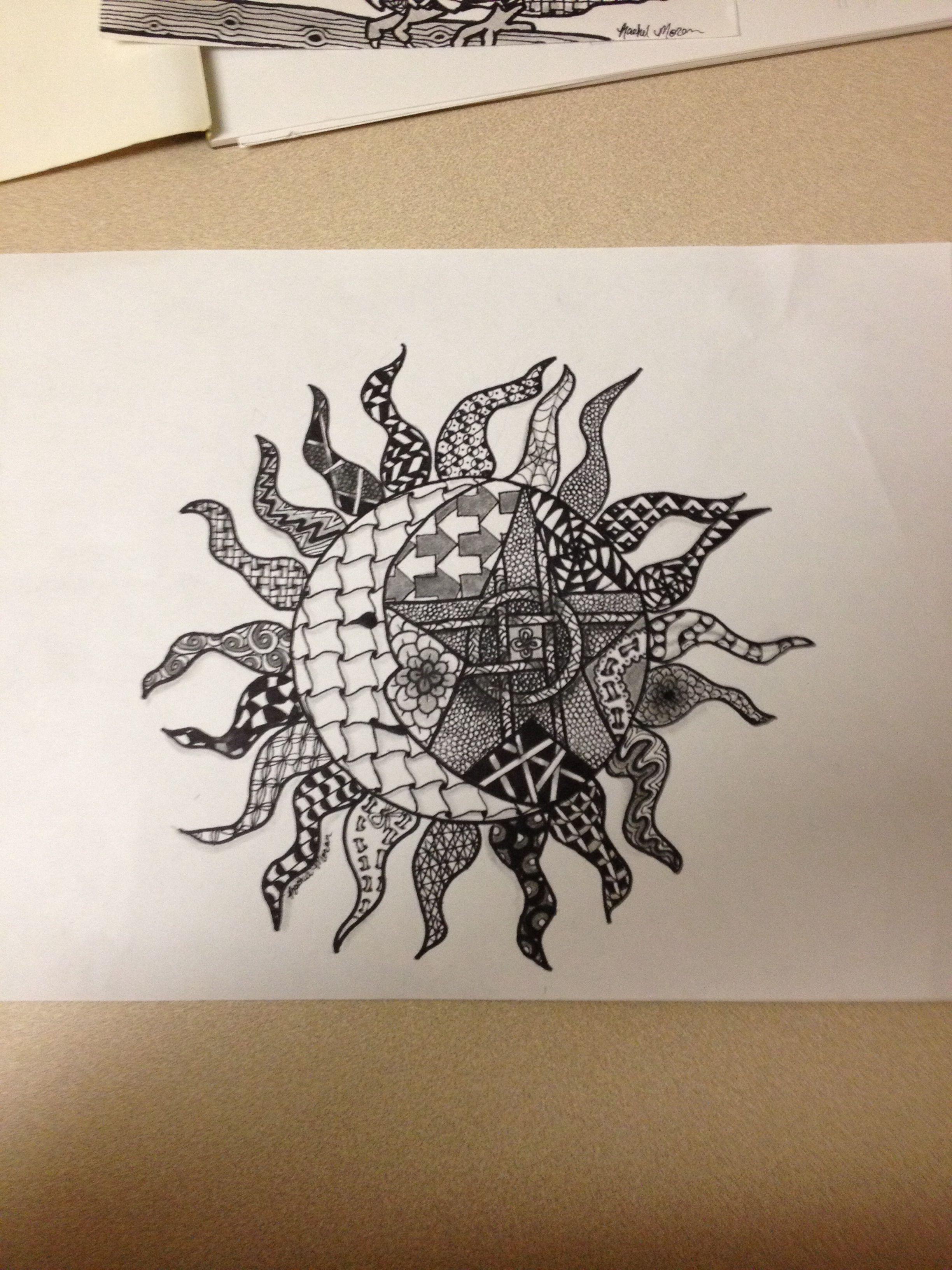 Zentangle Sun Moon And Star Sun Moon Drawings Moon