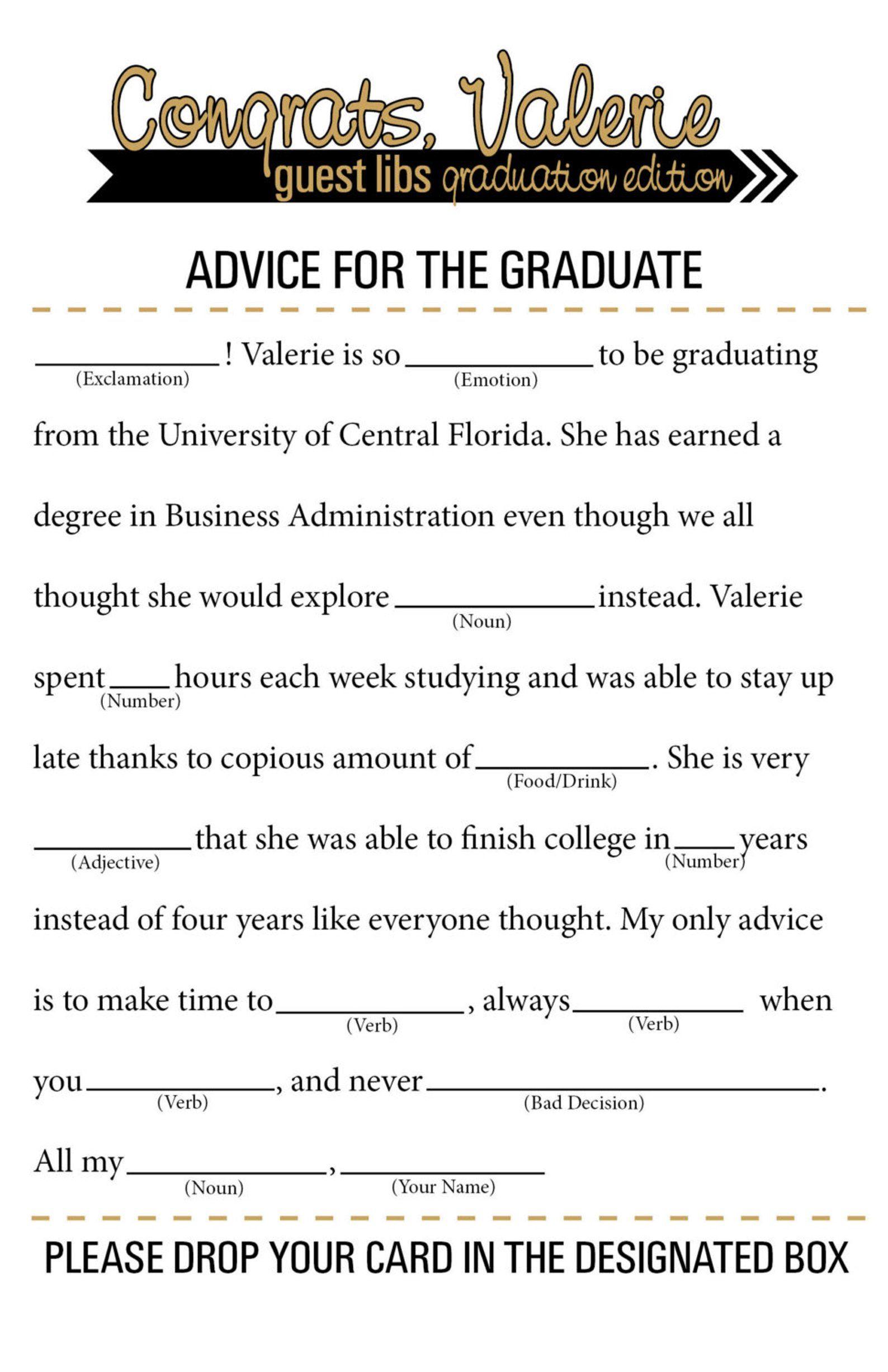 Grad Libs Graduation Mad Libs