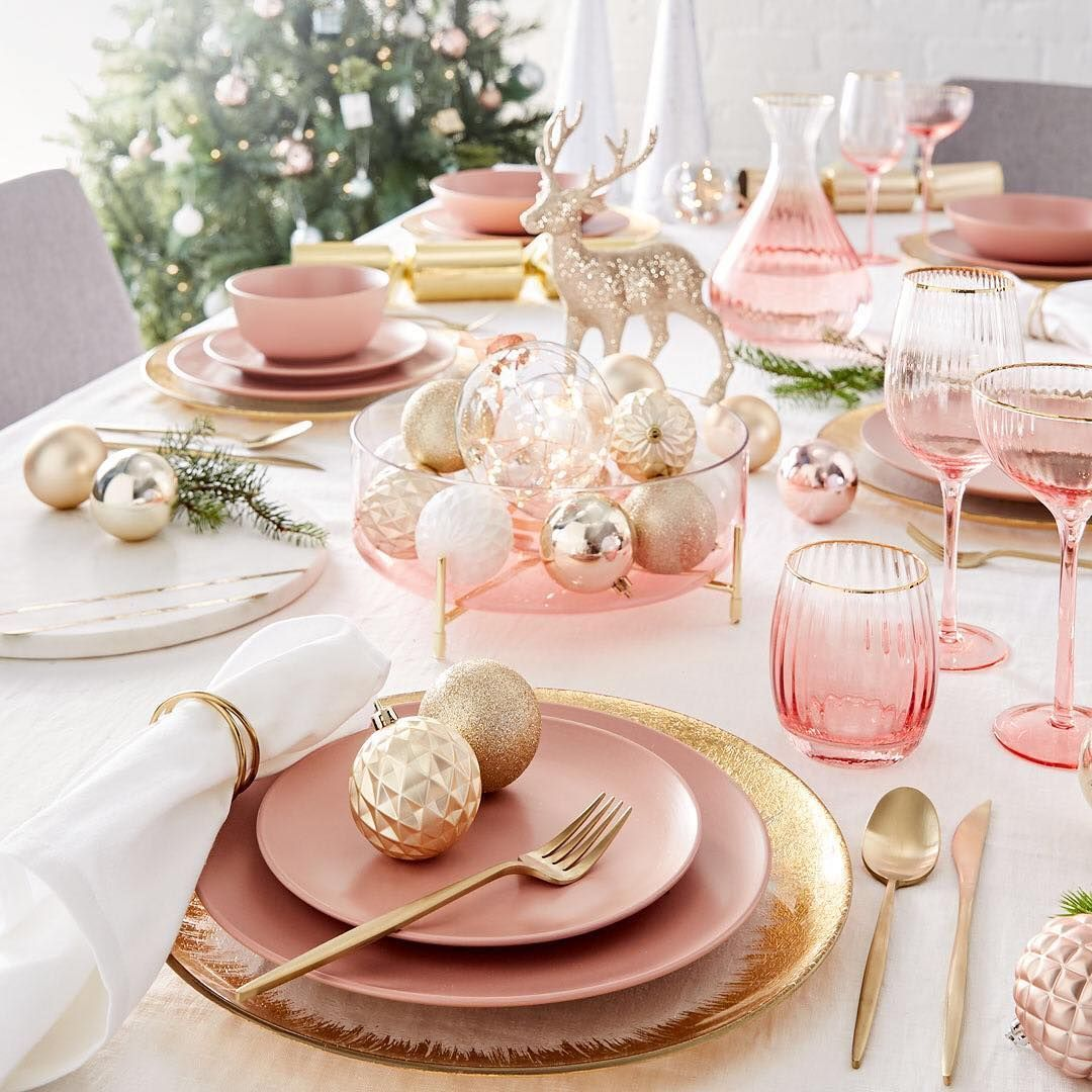 Kmart Australia On Instagram Add A Touch Of Class To Your Christmas Day Lunch With Our Christmas Day Lunch Pink Christmas Table Setting Christmas Dinnerware