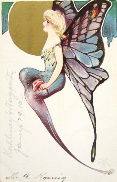 Vintage 925 Sterling Silver Art Nouveau Fairy Pendant   Etsy