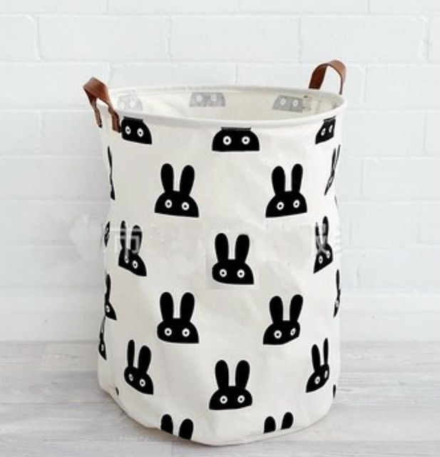 Cartoon Storage Basket Polar Bear Rabbit Pattern Cotton Linen Desk Toy Storage Box Holder Laundry Baske Toy Storage Bags Large Toy Storage Kids Clothes Storage