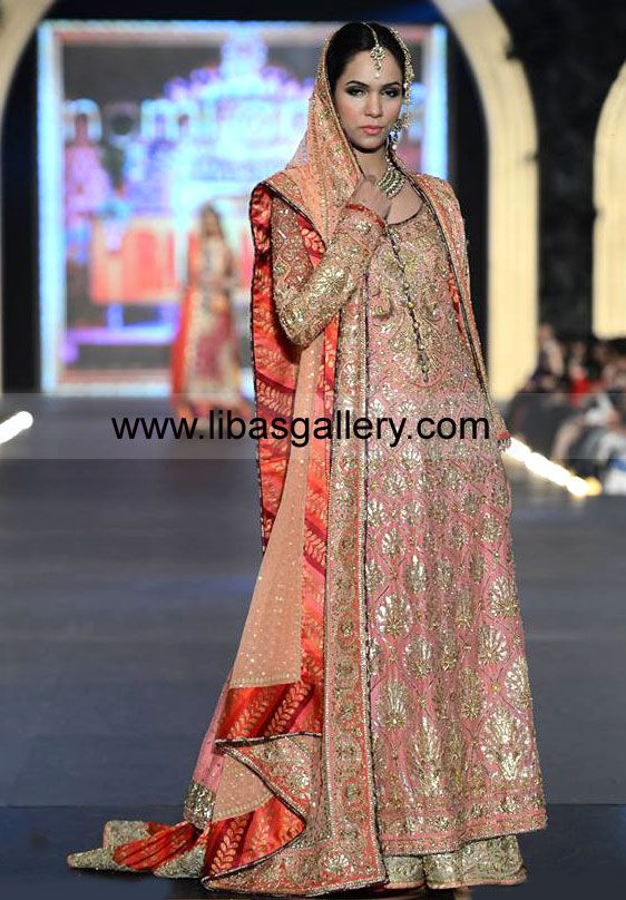 Coral Wedding Pakistani Dress