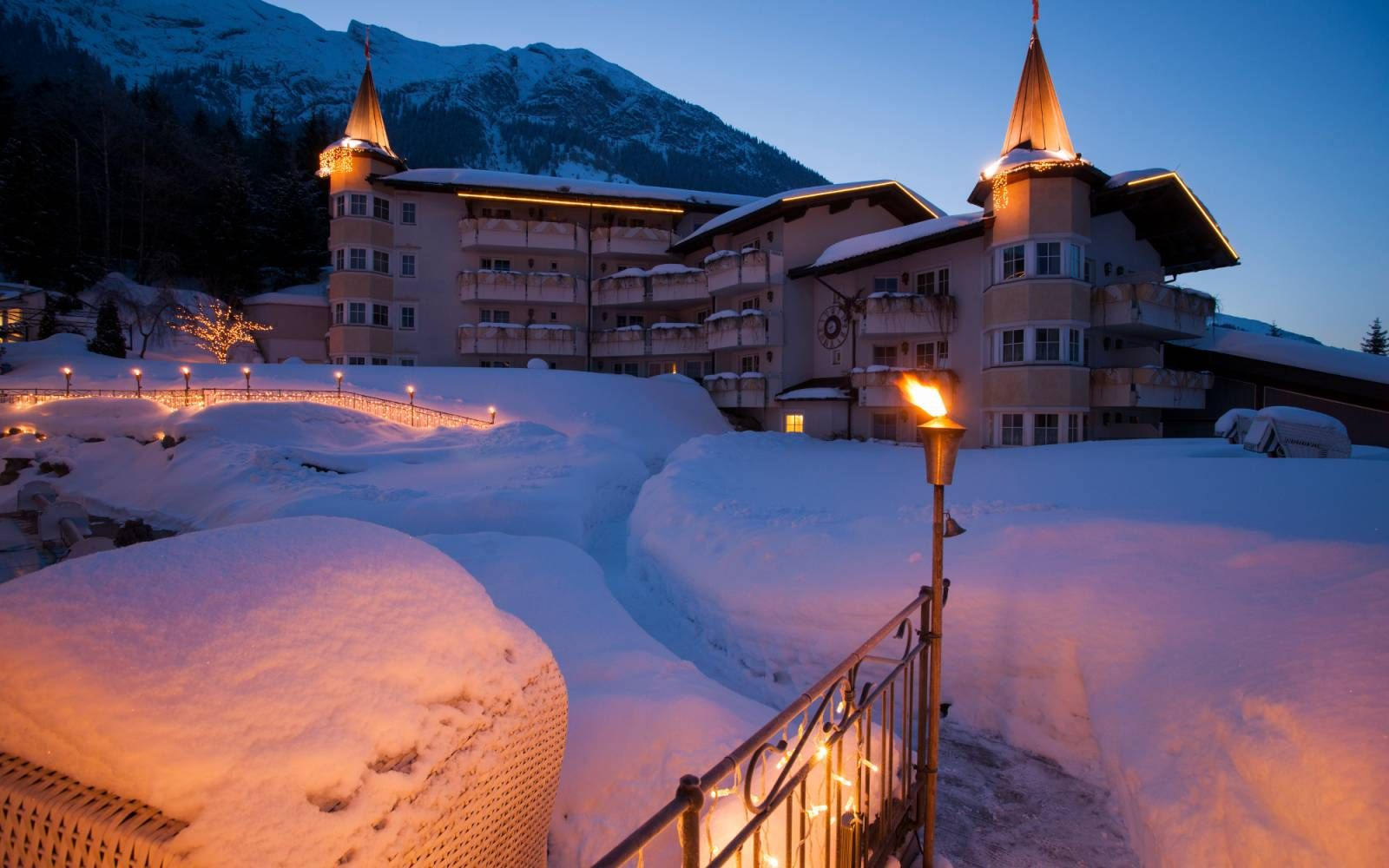 Posthotel, Achenkirch, Winter, Schnee, Dämmerung